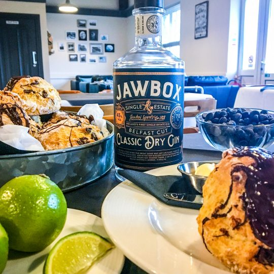 Jawbox, Lime & Chocolate Scones at Leona's Tea Room